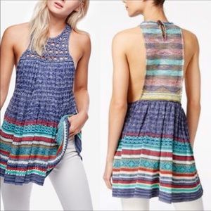 New Free People Rare Heart Tunic Top Knit Blue XS